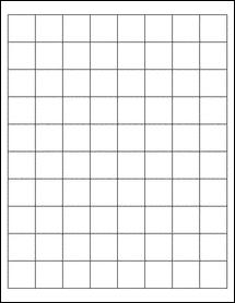 "Sheet of 1"" x 1"" Aggressive White Matte labels"