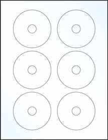 "Sheet of 3"" Mini CD Clear Gloss Inkjet labels"
