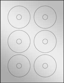 "Sheet of 3"" Mini CD Silver Foil Inkjet labels"