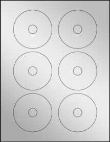 """Sheet of 3"""" Mini CD Silver Foil Laser labels"""