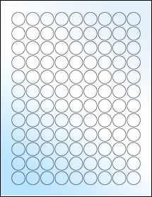 "Sheet of 0.75"" Circle White Gloss Laser labels"
