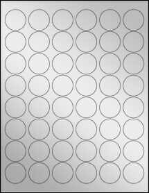 "Sheet of 1.2"" Circle Silver Foil Inkjet labels"