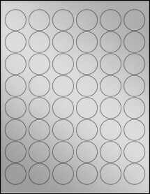 "Sheet of 1.2"" Circle Weatherproof Silver Polyester Laser labels"