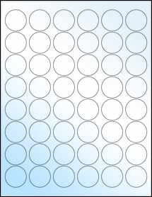 "Sheet of 1.2"" Circle White Gloss Laser labels"