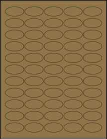 "Sheet of 1.5"" x 0.75"" Oval Brown Kraft labels"