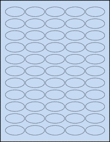 """Sheet of 1.5"""" x 0.75"""" Oval Pastel Blue labels"""