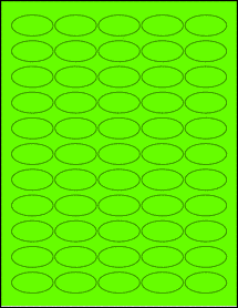 """Sheet of 1.5"""" x 0.75"""" Oval Fluorescent Green labels"""