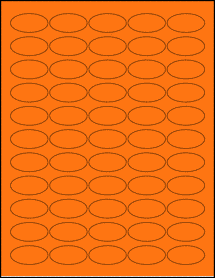 "Sheet of 1.5"" x 0.75"" Oval Fluorescent Orange labels"