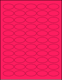 """Sheet of 1.5"""" x 0.75"""" Oval Fluorescent Pink labels"""