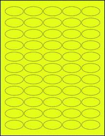 """Sheet of 1.5"""" x 0.75"""" Oval Fluorescent Yellow labels"""