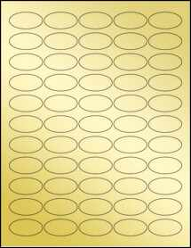 "Sheet of 1.5"" x 0.75"" Oval Gold Foil Laser labels"
