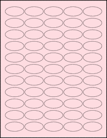 """Sheet of 1.5"""" x 0.75"""" Oval Pastel Pink labels"""