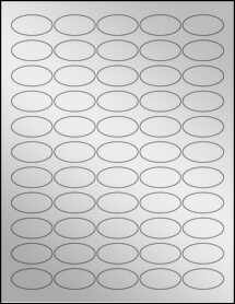 """Sheet of 1.5"""" x 0.75"""" Oval Silver Foil Inkjet labels"""
