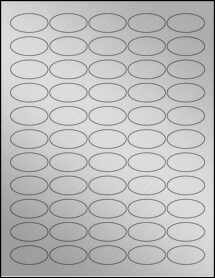 "Sheet of 1.5"" x 0.75"" Oval Weatherproof Silver Polyester Laser labels"
