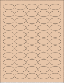 "Sheet of 1.5"" x 0.75"" Oval Light Tan labels"