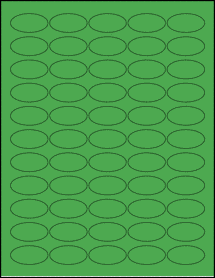 "Sheet of 1.5"" x 0.75"" Oval True Green labels"