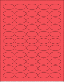 """Sheet of 1.5"""" x 0.75"""" Oval True Red labels"""
