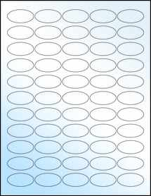 "Sheet of 1.5"" x 0.75"" Oval White Gloss Inkjet labels"