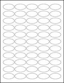 "Sheet of 1.5"" x 0.75"" Oval Aggressive White Matte labels"