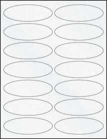"Sheet of 3.91"" x 1.32"" Oval Clear Matte Inkjet labels"