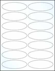 "Sheet of 3.91"" x 1.325"" Oval Clear Gloss Laser labels"