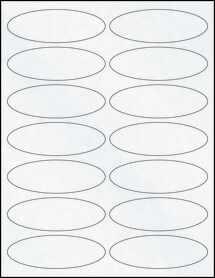 "Sheet of 3.91"" x 1.325"" Oval Clear Matte Laser labels"