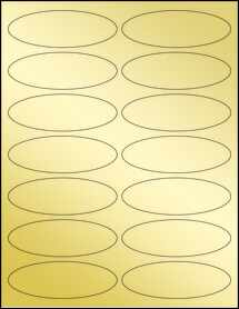 "Sheet of 3.91"" x 1.325"" Oval Gold Foil Laser labels"