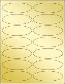 """Sheet of 3.91"""" x 1.325"""" Oval Gold Foil Inkjet labels"""