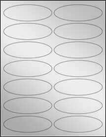 "Sheet of 3.91"" x 1.325"" Oval Silver Foil Laser labels"