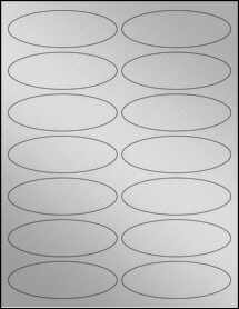 "Sheet of 3.91"" x 1.325"" Oval Weatherproof Silver Polyester Laser labels"