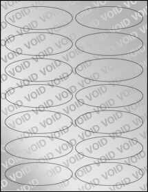 "Sheet of 3.91"" x 1.325"" Oval Void Silver Polyester labels"
