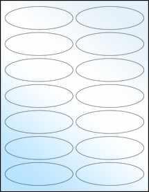 "Sheet of 3.91"" x 1.325"" Oval White Gloss Inkjet labels"