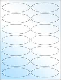 "Sheet of 3.91"" x 1.325"" Oval White Gloss Laser labels"