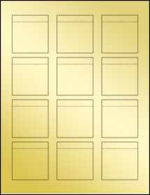 "Sheet of 2.0625"" x 2.15"" Gold Foil Laser labels"