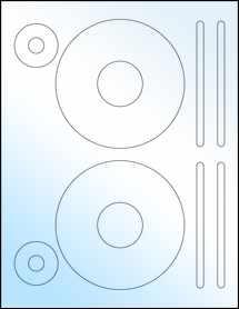 """Sheet of 4.62"""" CD White Gloss Laser labels"""