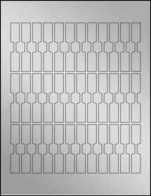 "Sheet of 0.5"" x 2.75"" Weatherproof Silver Polyester Laser labels"
