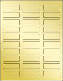 "Sheet of 2.25"" x 0.75"" Gold Foil Inkjet labels"