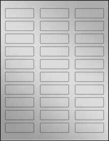 "Sheet of 2.25"" x 0.75"" Weatherproof Silver Polyester Laser labels"