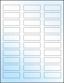 "Sheet of 2.25"" x 0.75"" White Gloss Laser labels"