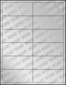 "Sheet of 4"" x 1.75"" Void Silver Polyester labels"