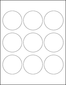 """Sheet of 2.5"""" Circle 100% Recycled White labels"""