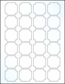 "Sheet of 1.625"" x 1.625"" Clear Gloss Inkjet labels"