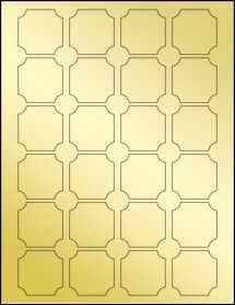 """Sheet of 1.62"""" x 1.62"""" Gold Foil Inkjet labels"""