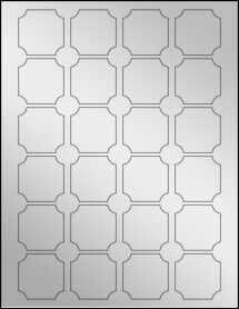 """Sheet of 1.625"""" x 1.625"""" Silver Foil Inkjet labels"""