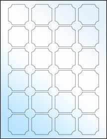 """Sheet of 1.625"""" x 1.625"""" White Gloss Inkjet labels"""