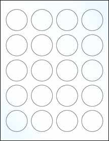 """Sheet of 1.67"""" Circle Clear Gloss Laser labels"""