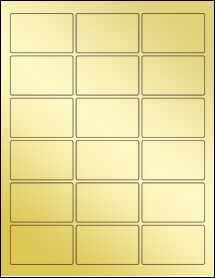 """Sheet of 2.5"""" x 1.563"""" Gold Foil Inkjet labels"""