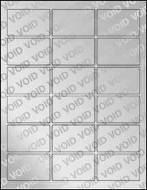 "Sheet of 2.5"" x 1.563"" Void Silver Polyester labels"