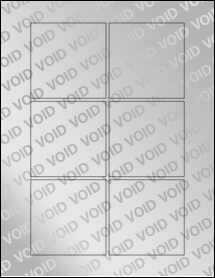 """Sheet of 3"""" x 3"""" Square Void Silver Polyester labels"""