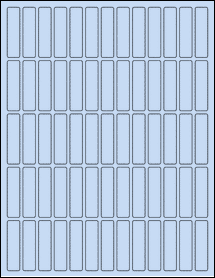 "Sheet of 0.5"" x 2"" Pastel Blue labels"